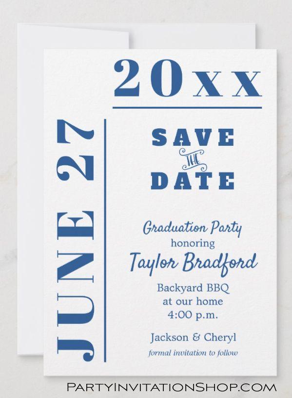 School Colors Graduation Save The Date Cards Graduation Party Invitations Save The Date Cards Printable Invitation Templates