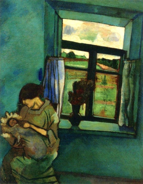 Chagall, Marc (French, 1887-1985) - Bella and Ida by the Window - 1916