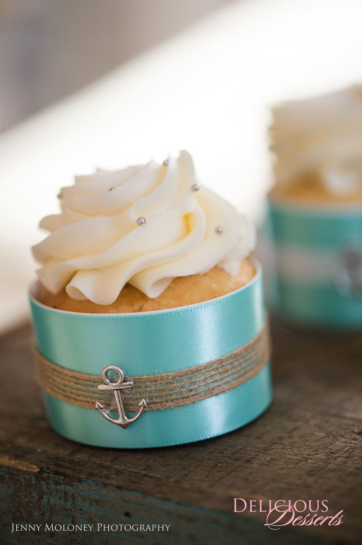 Teal and Tan Beach Wedding Cupcakes with Burlap and Anchor Detailing