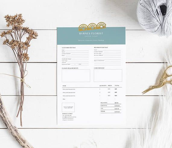 NEW professional and modern order form template for florists. This template allows for customer and delivery options as well as itemising charges. It is simple to use and completely customisable with full control over colour and fonts, easy to change wording and to add a logo. This template is presented in a chic and modern aesthetic and is a convenient A4 size. Templates are sold as digital items only for instant download. Microsoft Word files included. CONTENTS  - 1 A4 page invoice template...