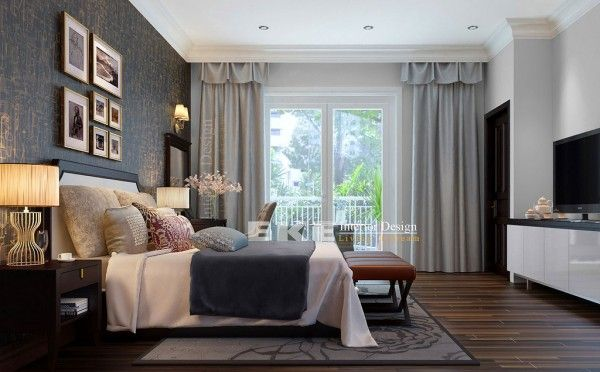 Tuananh Ekes dark wood floors heavily styled modern bedroom with textural feature wall