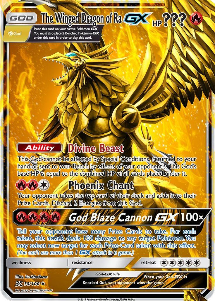 The Winged Dragon of Ra GX (Pokemon Yu-Gi-Oh! God Card Crossover) Custom Pokemon Card   Pokemon ...