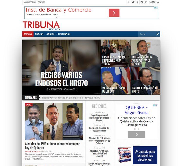 Febrero 26, 2015 - Visita www.tribunapr.com para las noticias importantes de hoy. Sin amarillismo ni relleno.