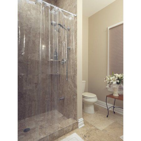 72 inch x 72 inch Ottomanson Durable Heavy Duty 10 Gauge Clear Shower Curtain Liner with Rust Proof Metal Grommets