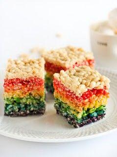 Rainbow Rice Krispie Marshmallows for st Patrick's day