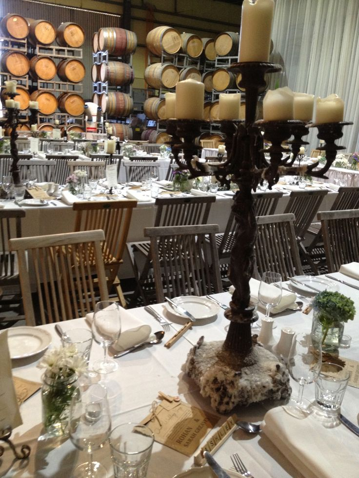 A wedding set up at Clyde Park Winery.