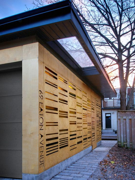 Stylish Auto Garage Design with Illumination Lighting Idea : Smart Garden Pavilion Eaton Avenue Design Ideas Woodframe Wall