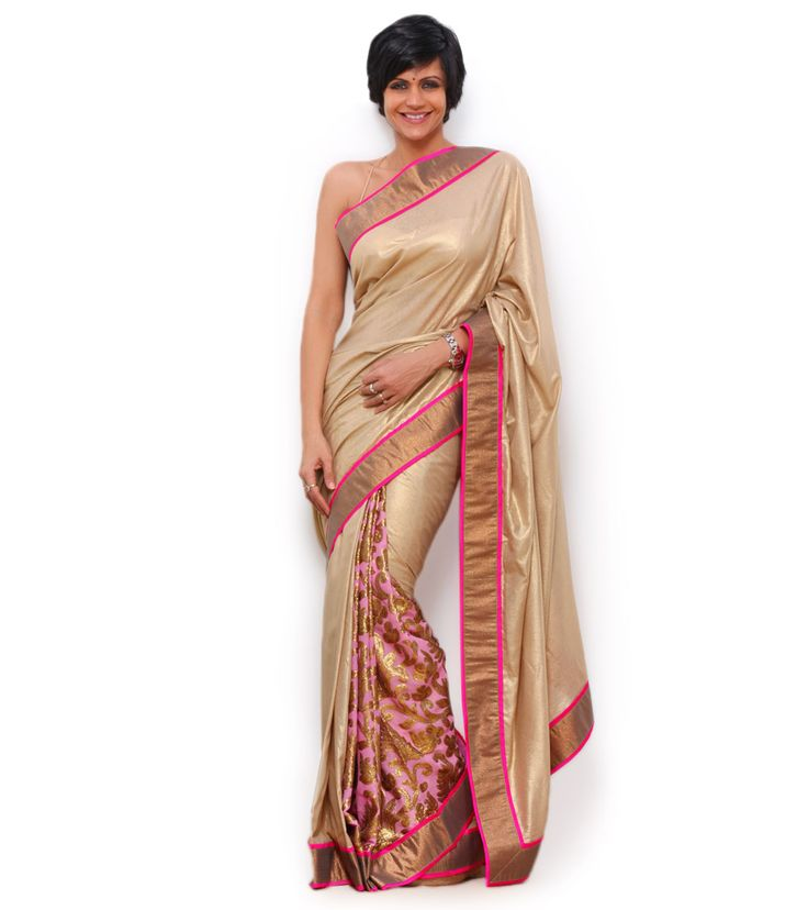indian roots saree   Golden & Neon Pink Handloom Silk Saree