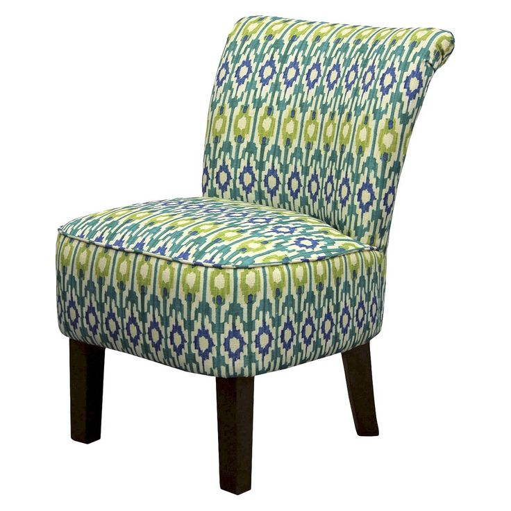 Threshold Rounded Back Chair Blue Green Ikat Geo Chair