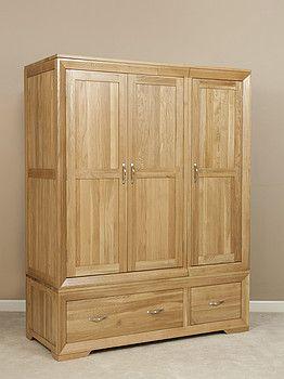 Simple Bevel Natural Solid Oak Triple Wardrobe