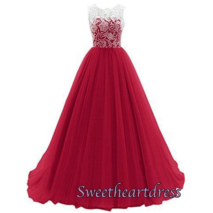 2016 cute a-line hot pink tulle long prom dress with lace top, ball gowns wedding dress #coniefox #2016prom