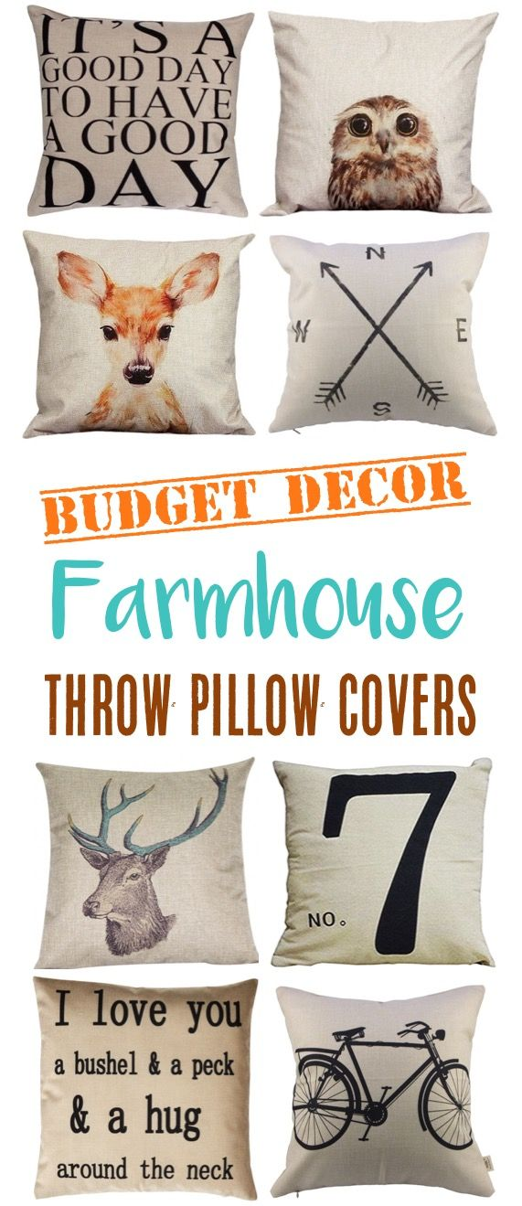 17 Farmhouse Throw Pillow Covers! These removable zipper covers are my favorite way to update throw pillows for with farmhouse style! So many cute designs and the ultimate in budget decor!