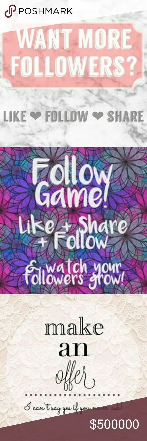 ☆ Follow Game #2 ! Hey pffs come play Follow game #2! Let's grow our closets together!!!   New goal of 15k followers!   ? LIKE ? FOLLOW ? SHARE   Don't forget to come back and follow new likers! Tops