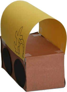 covered wagon craft--a simple version.  I like the one with the craft sticks better!