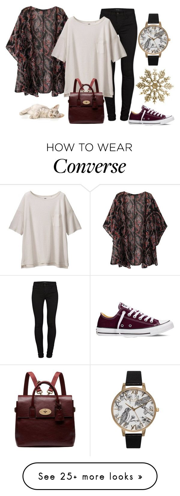 """Ashley"" by didiiidia on Polyvore featuring Olivia Burton, J Brand, Uniqlo, Converse, Mulberry, women's clothing, women's fashion, women, female and woman"