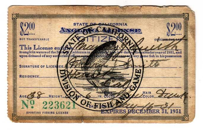 1931 vintage california fishing license 223621 click for How much are fishing license