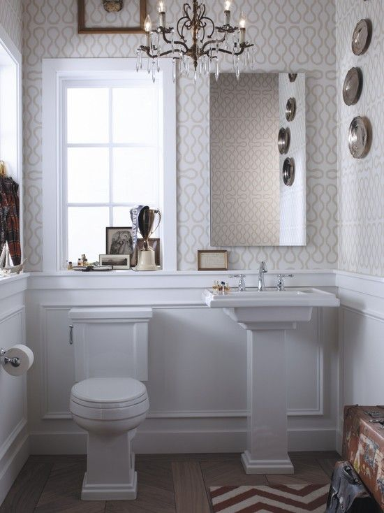 Love the chandeleir lighting chair rail with molding is Pretty powder room ideas