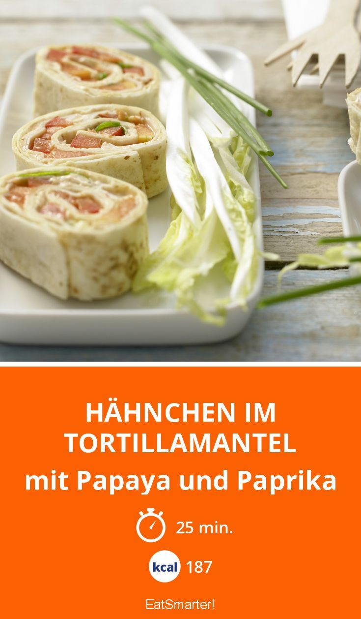 Hähnchen im Tortillamantel - mit Papaya und Paprika - smarter - Kalorien: 187 kcal - Zeit: 25 Min. | eatsmarter.de