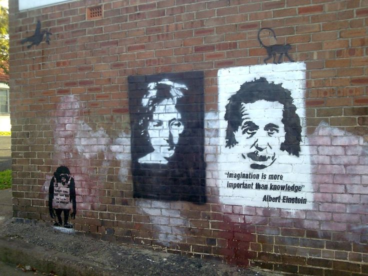 "Banksy: ""Imagination is more important than knowledge"" - Albert Einstein"