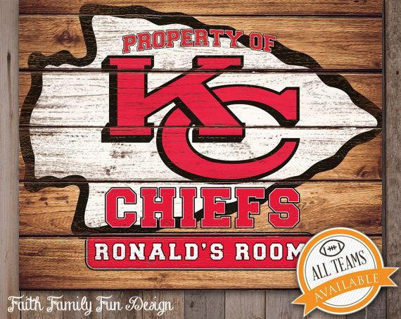 26 best personalized nfl signs images on pinterest babies rooms nfl kansas city chiefs team sign printable personalized man cave teen room negle Image collections