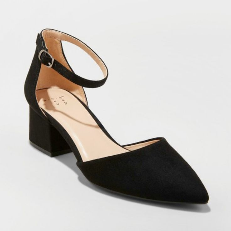 A New Day Shoes  Nwot Black Microsuede Pointed Toe Block -7456