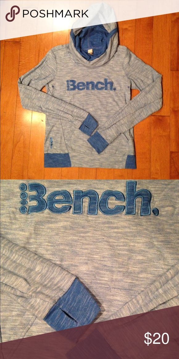 Bench Hoodie Blue heathered Bench hoodie. Has a slouchy neck, and thumb holes in sleeves. Never worn. Fits more like a small. Bench Tops Sweatshirts & Hoodies