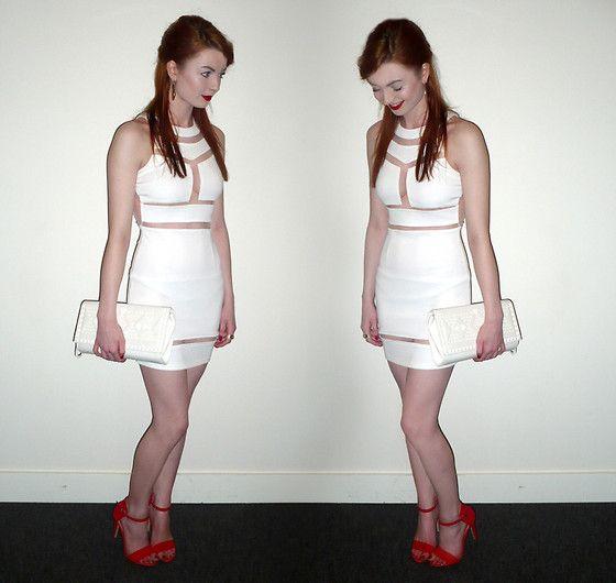Robena Dress, Primark White Studded Clutch, Primark Heeled Sandals