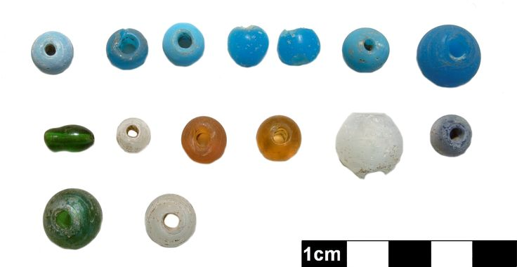 Our Artifact of the Month becomes Artifacts of the Month this April!  These 15 glass beads were excavated in Huron County, Ontario. They are a mix of hand and machine made, and range widely in colour. #glass #beads #archaeology #artifact