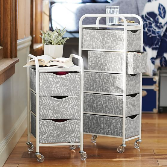 Mini Dot Ready-To-Roll Storage Cart | PBteen Wide 3 drawer for Grandma's computer etc. by her bedside.