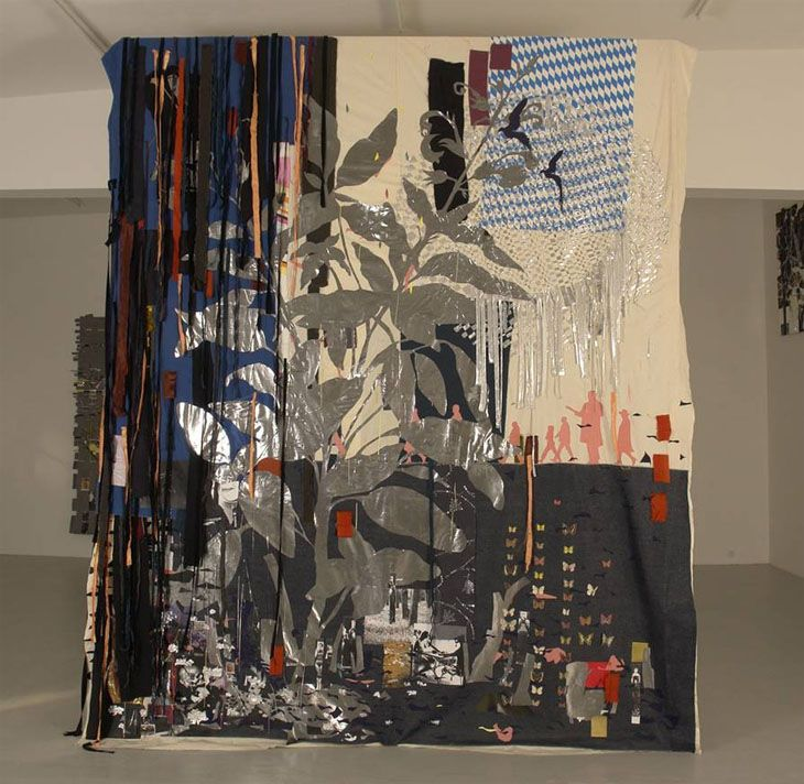 Kirstine Roepstorff  Chessing with loss  2006 Mixed-media collage: fabric, canvas tinsel, colored vellum, iron-on fabric, paper, photocopies, glitter, silver leaf, tape, glue over wood and aluminum structure 360 x 290 cm