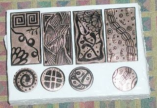 Zentangle etching with sharpie on copper
