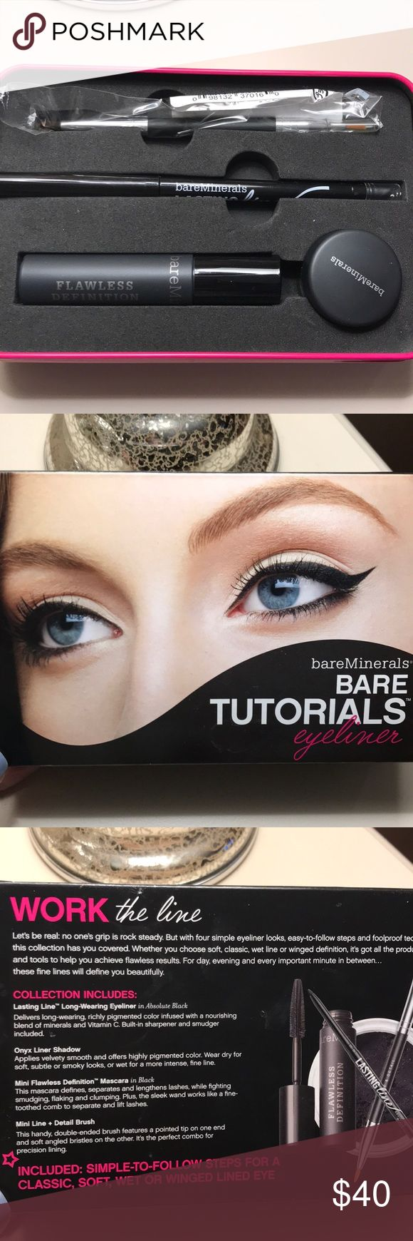 Bare Minerals eyeliner tutorial kit Brand new, never used. Some marks on tin case.  Comes with:  Lasting Line Long-Wearing Eyeliner Onyx Liner Shadow  Mini Flawless Definition Mascara  Mini Line + Detail Brush bareMinerals Makeup Eyeliner