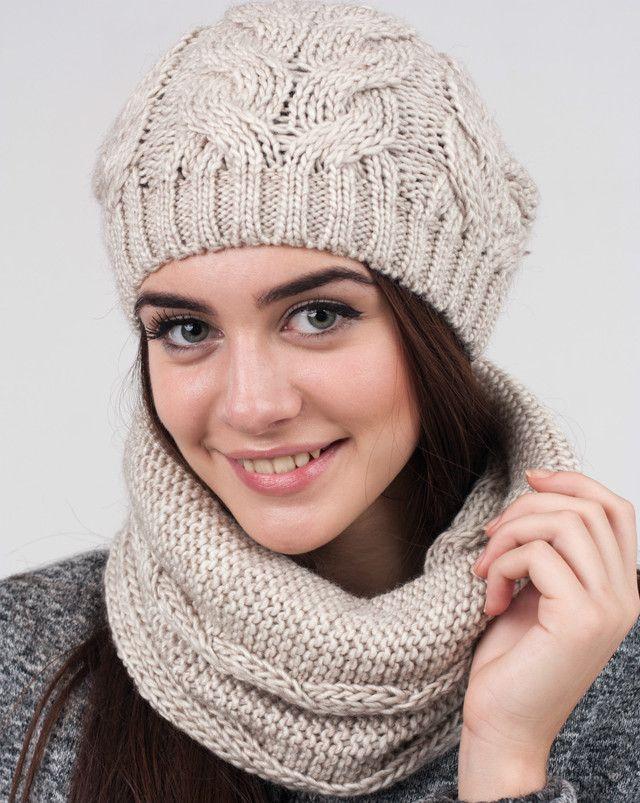 Стильный женский комплект из шапочки и шарфа-хомута. - купить по лучшей цене в…