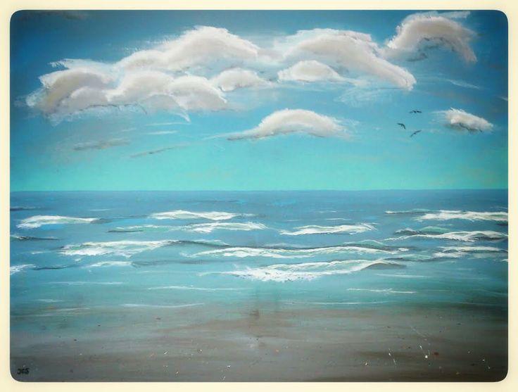 Zeezicht schilderij van 60x80cm op doek geschilderd door for Schilderij zeezicht