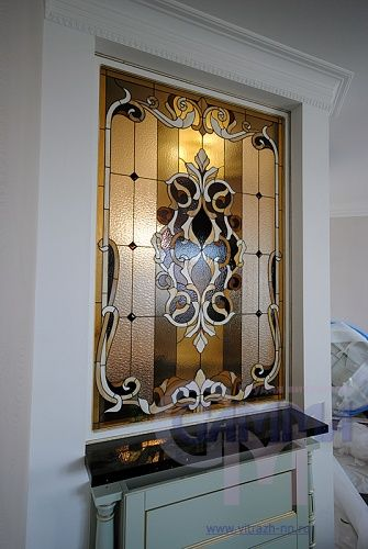 Витражная перегородка. Stained glass partition.