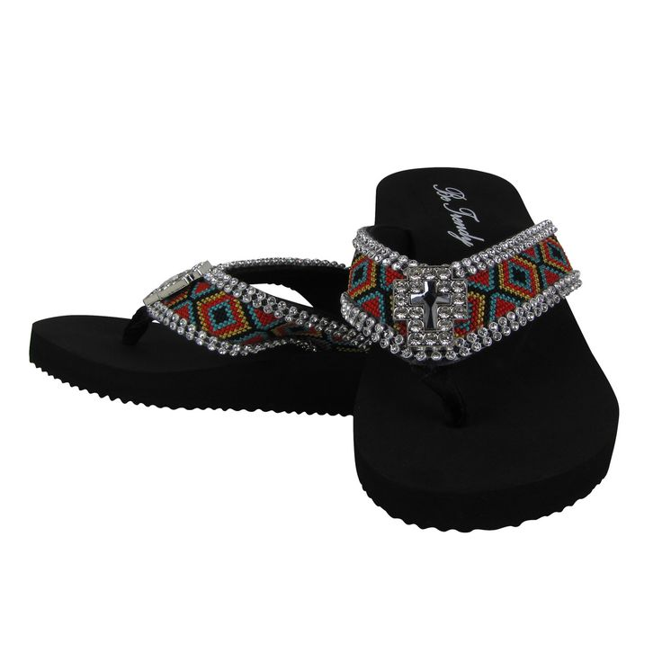 Hot Black Tribal with Rhinestone Cross Fashion Flip Flop Bling to enhance your summer footwear collection. Buy it on www.ladyvoguefashion.com