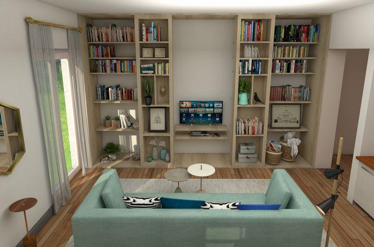 La librería se abre y se cierra para mostrar u ocultar la TV