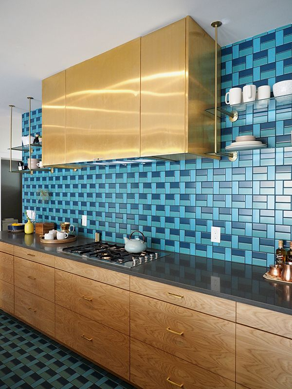 sunset idea house tour - midcentury modern kitchen with blue tile and brass details | via coco+kelley
