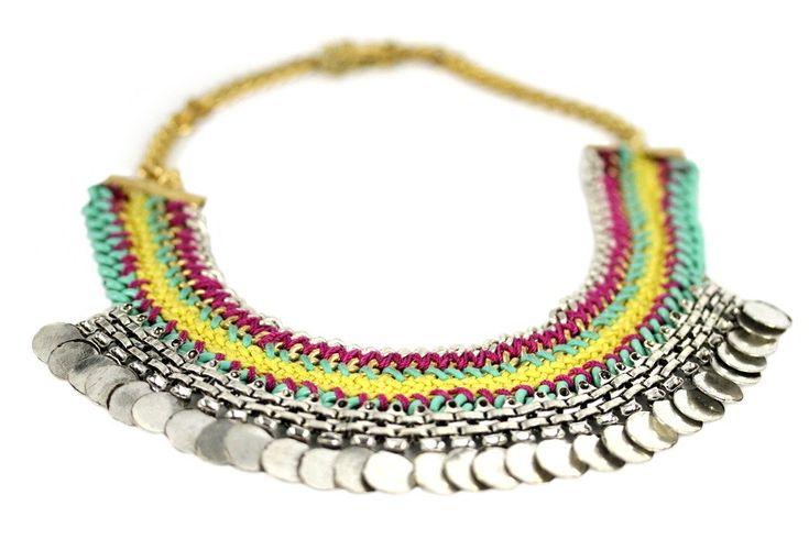 """""""Collier Atahualpa""""-Collier plastron métal argent et perles"""