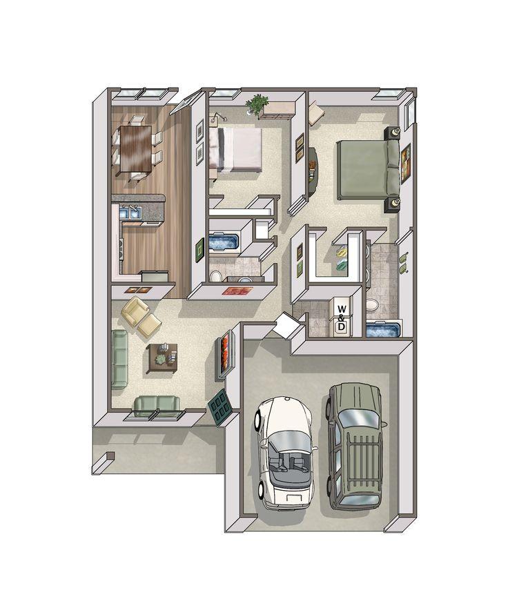 Double Garage Design In Sidcup: Detached Two Car Garage With Casita Floor Plan