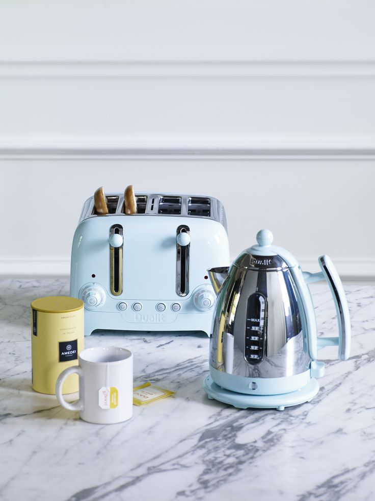 Lighten your #kitchen with this gorgeous sky blue kettle and toaster set. #SS14 #Home