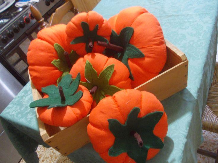 zucche di halloween in tessuto