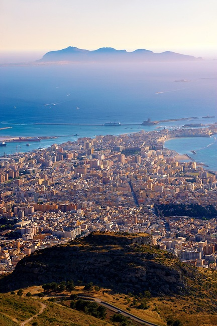 View of Trapani from Erice, Sicily, Italy