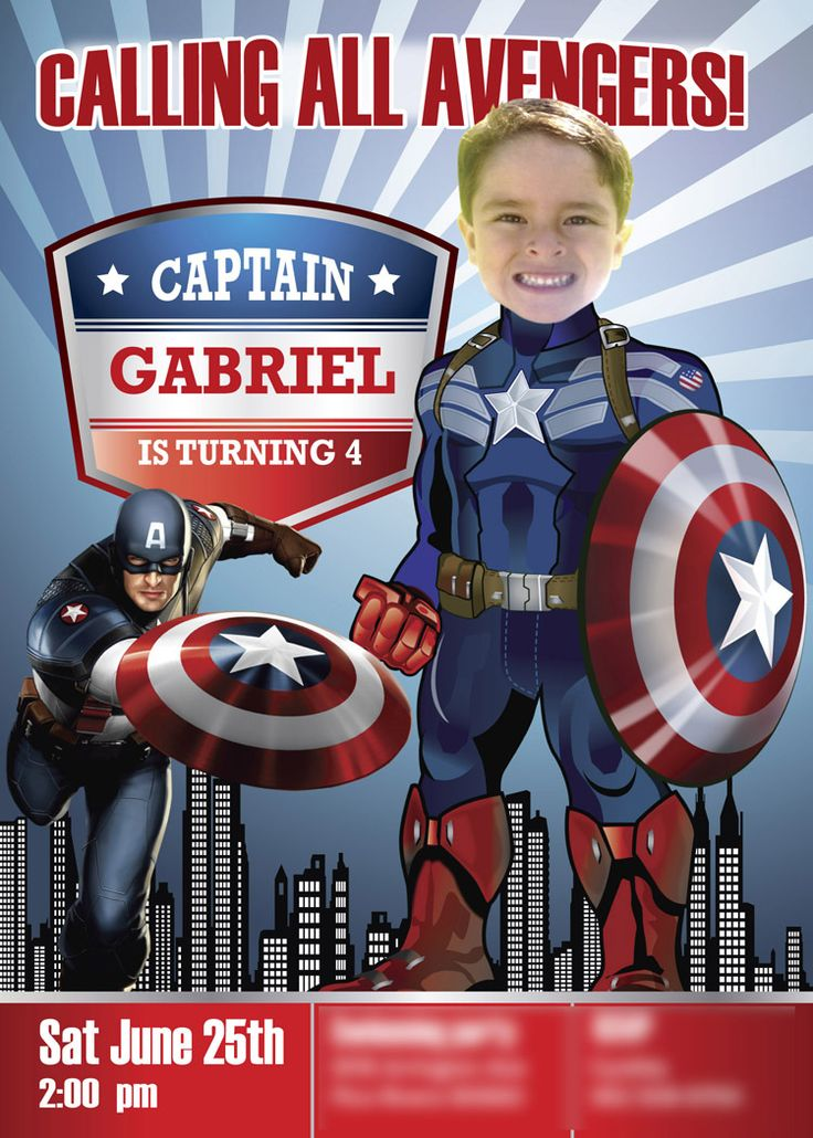 Captain America is calling all Super Heroes!! A nice sample. Turn your child into Captain America. Captain America Invitation. Captain America Cartoon. Civil War 2016. The body of Captain America is an illustration made for me, I will do my best to keep it proportional to the face of your child.