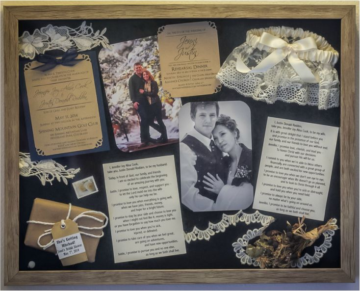 Week 50: Wedding Art There were several memorable pieces from our wedding that I didn't want to just simply get rid of but I didn't want them to gather dust in a drawer somewhere either. Here are a few wedding pieces I turned into art for our apartment! Unity Sand Shadow Box Wine Bottles Flowers & Photos DIY Frame Honeymoon Woodcarving