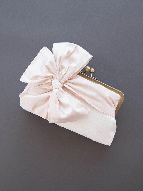 Blush Clutch | Bridal Clutch | Bridesmaid Clutch Purse [Classic Bow Clutch: Blush on Off-White]