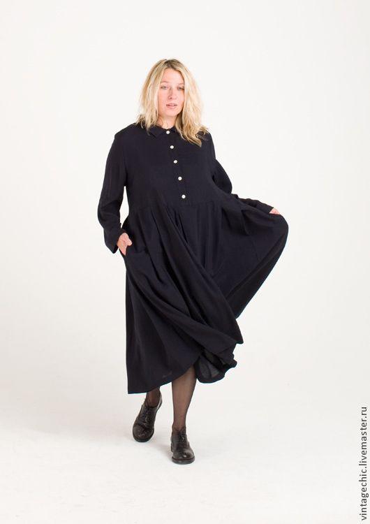 Купить Милое платье из синей вискозы SARTA-011a - темно-синий, платье, винтаж