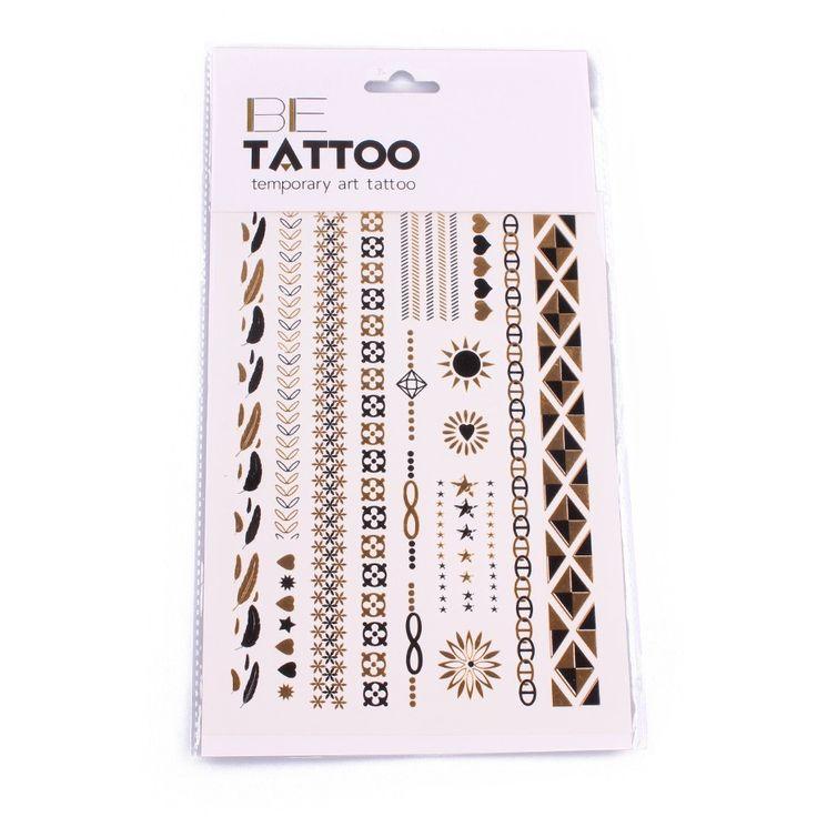 Tatouages éphémères Bracelets dorés et noirs plumes infinis soleils