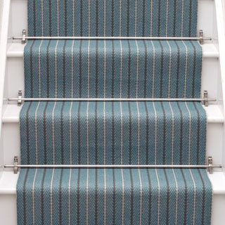 Denby Ground Mid Blue by Bowloom London white stairs blue carpet
