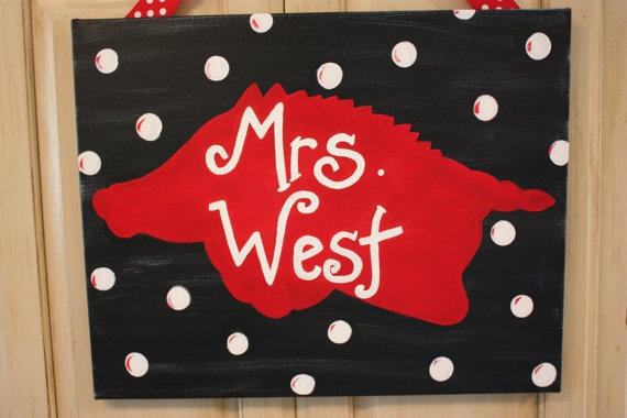 Razorback Classroom Decor : Personalized razorback canvas painting go hogs